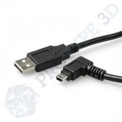 Câble USB 30 cm A / B mini coudé 90°
