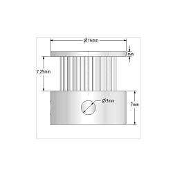 schéma poulie gt2 bore 5mm pour nema17 et courroie gt2