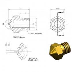 buse 08mm pour kit d'extrusion mk10